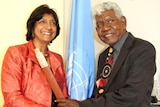 LtoR Navi Pillay and Rev Dr Djiniyini Gondarra OAM meet in Geneva