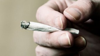A close-up of a hand holding a joint.