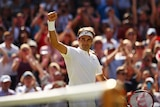 Roger Federer celebrates his win over Croatia's Marin Cilic at Wimbledon on July 6, 2016.