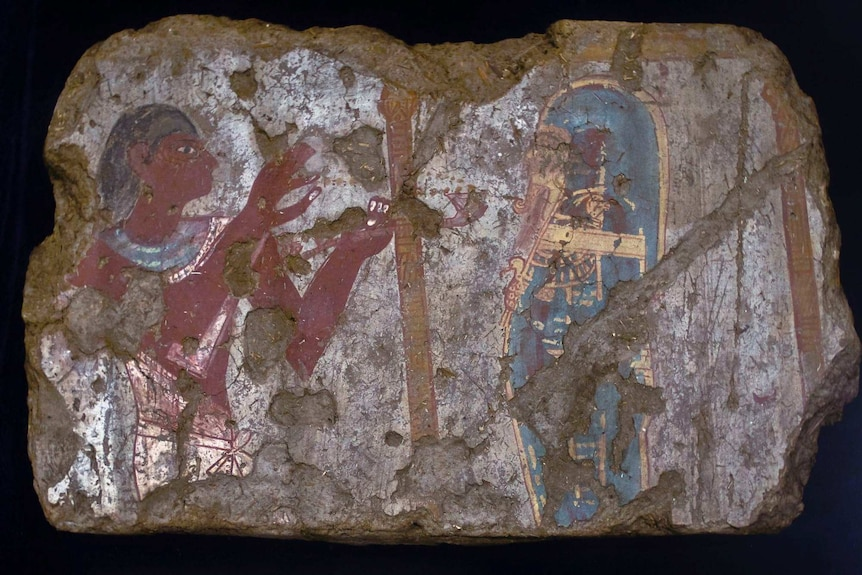 An ancient painting on a slab of rock