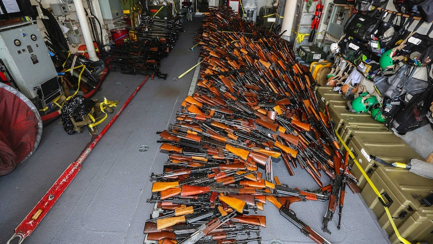 Large weapons cache seized by HMAS Darwin