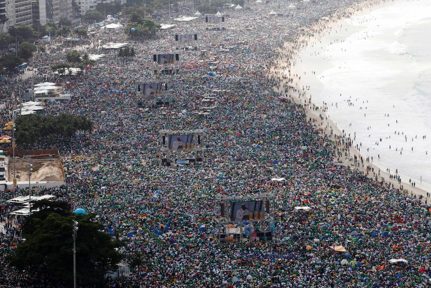 About 3 million pack Copacabana beach for Pope's mass