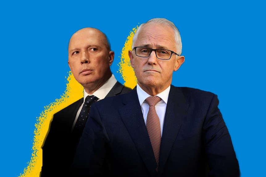 Peter Dutton stands behind Malcolm Turnbull, a famous example of a work place colleague relationship breakdown.