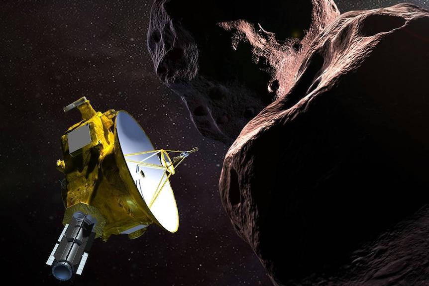 Artist's impression of New Horizons flying past Arrokoth.