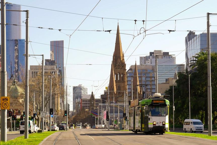 A tram travelling through the Melbourne CBD