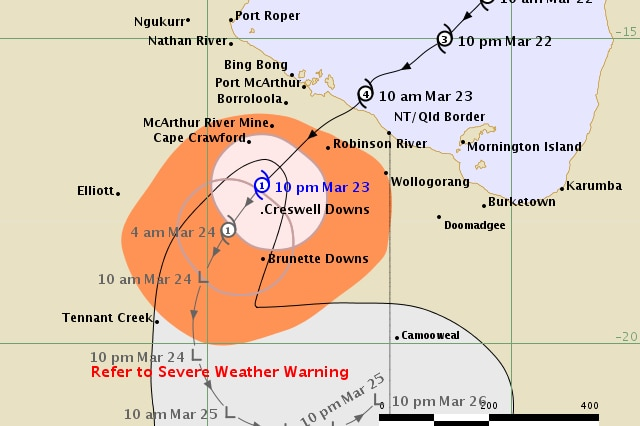 A track map showing Cyclone Trevor hitting the coast.