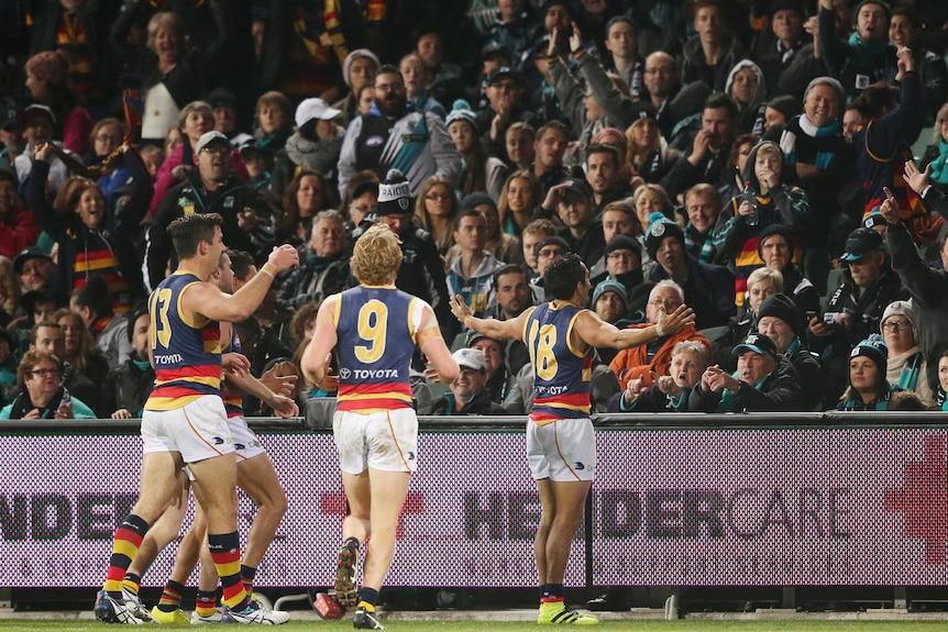 Eddie Betts looks into the Port Adelaide crowd