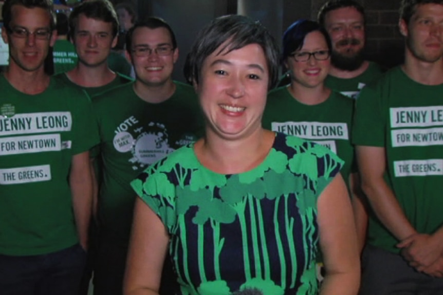 Greens MP Jenny Leong with supporters on election night