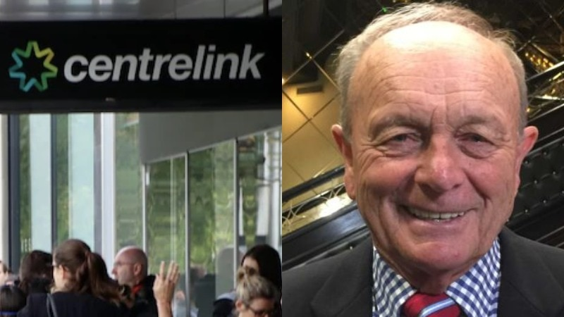 A composite photo of people in line at Centrelink and Gerry Harvey