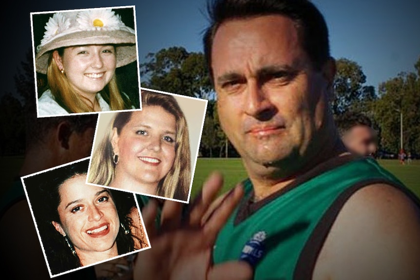 A man in a green football shirt next to inset pictures of three smiling young women.