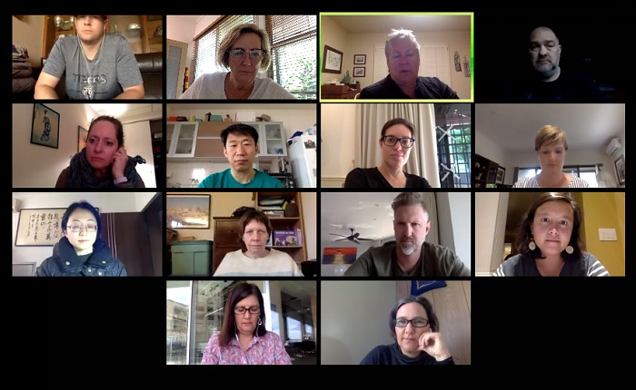 Despite being stuck in different corners of the world, staff still have weekly meetings.