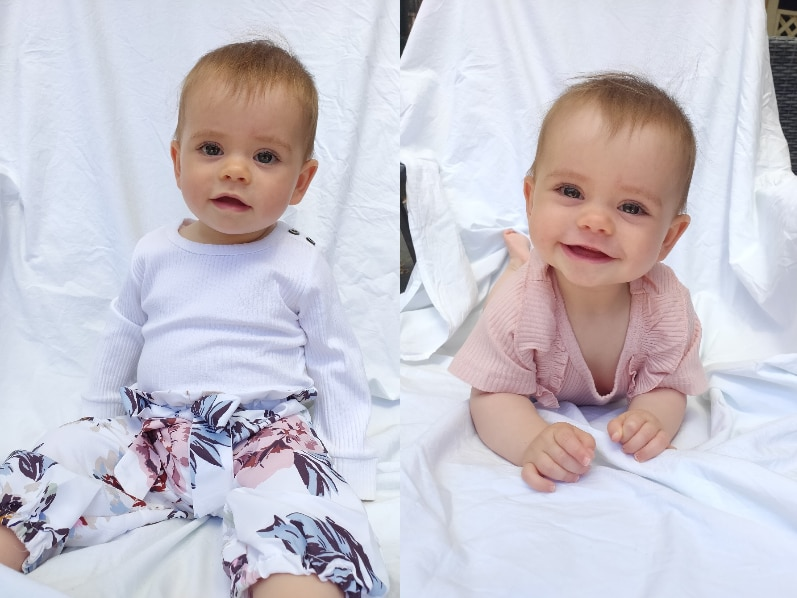 A baby in two photos side-by-side. She is wearing a white shirt in one photo and smiling wearing a pink shirt in the other.