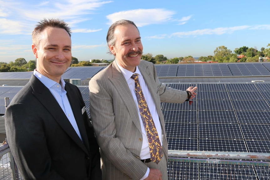 Infinite Energy managing director Aidan Jenkins(left) and Paul Avon-Smith from Broadway Fair shopping centre in Nedlands.