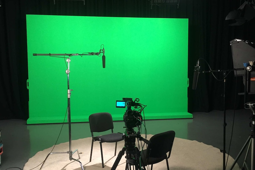 Camera equipment and green screen set up in ABC studio for filming interviews for The Siege programs.