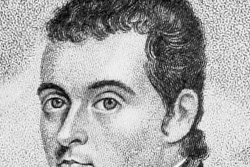 Black and white head and shoulders illustration of a historical figure in an army collar.