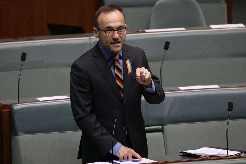 Adam Bandt stands at his desk speaking, with one hand pinched and the other pointing to his notes