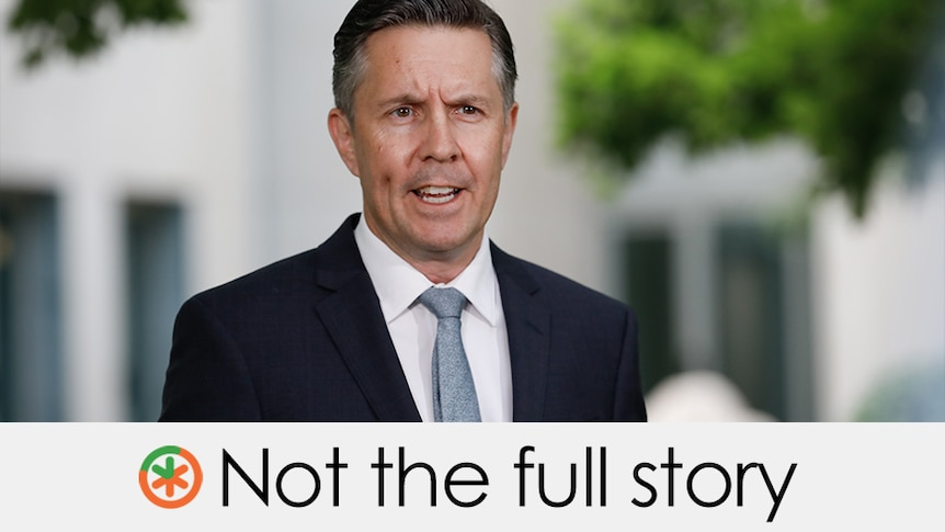 """Mark Butler is talking at Parliament House. Verdict is """"not the full story"""" with an orange and green asterisk"""