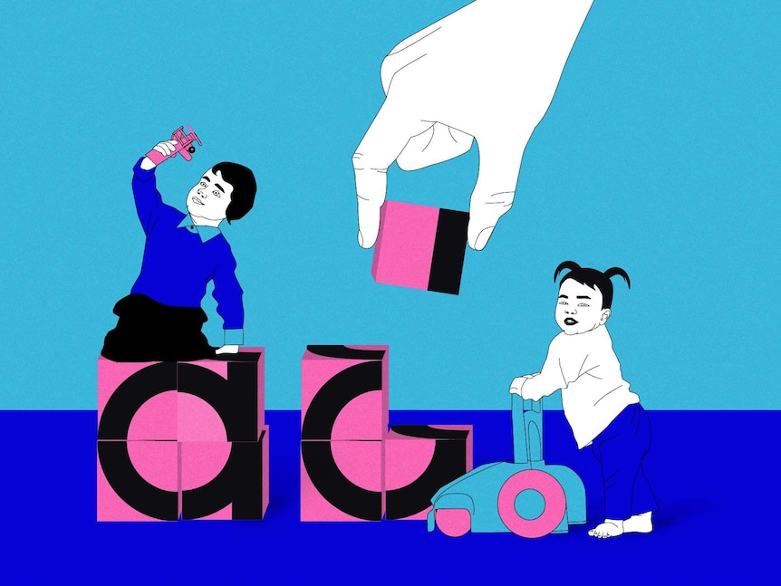 An illustration of two children playing on large blocks with a white hand appearing from the top to put a block down.
