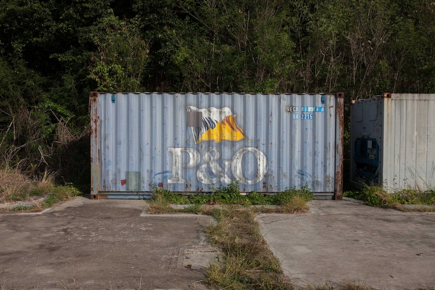 An abandoned P&O shipping container on Christmas Island.