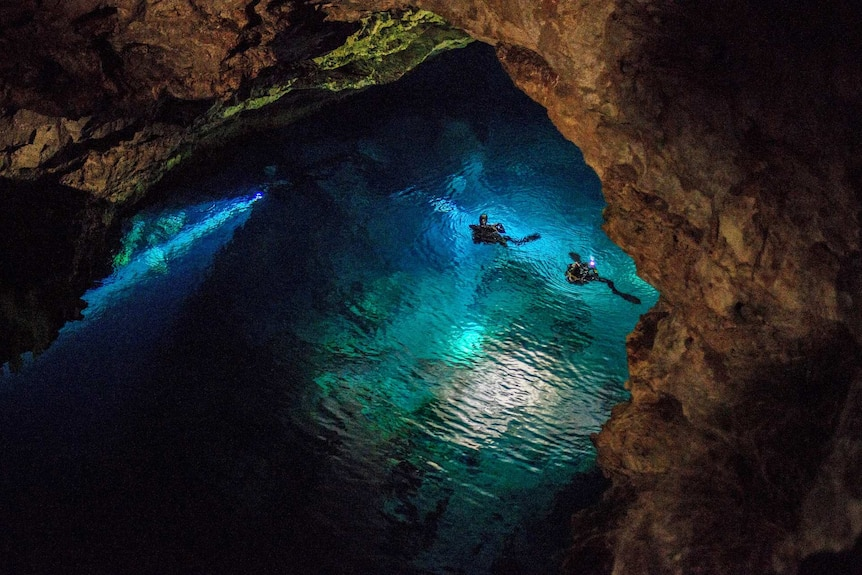 Two divers in full wetsuits swim in a large cave, shining torches ahead of them, illuminating the water in a shade of blues.