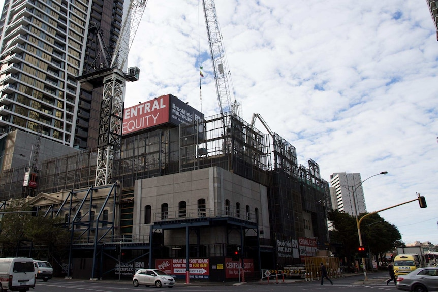 Apartments under construction in Melbourne
