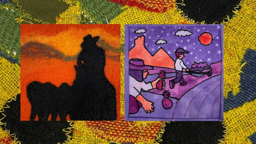 Two quilt squares depicting farmers on floral background