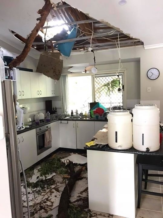 The interior of a house on Sidney Drive in Beerwah was significantly damaged by the storm.