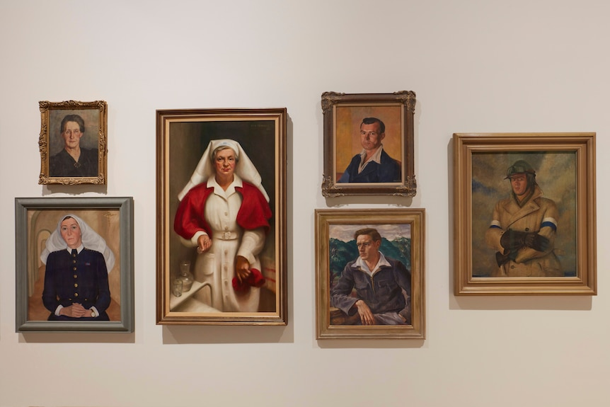 Six portraits hanging as part of the Archie 100 exhibition, including Nora Heysen's portrait of her husband, DrRobert H. Black