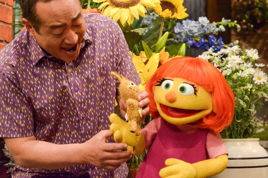 """Julia is a new autistic muppet character debuting on the 47th Season of """"Sesame Street,"""" on April 10, 2017"""