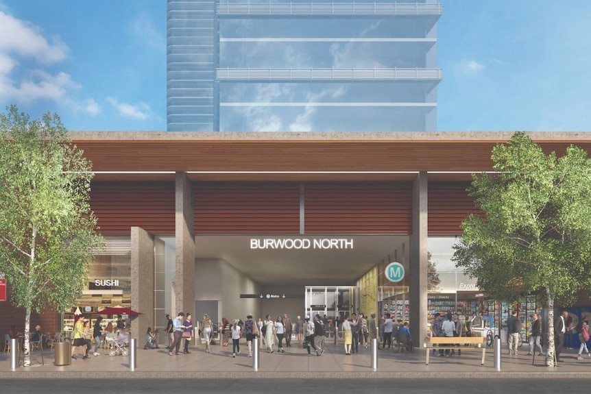 An artist impression of the proposed metro station at Burwood North