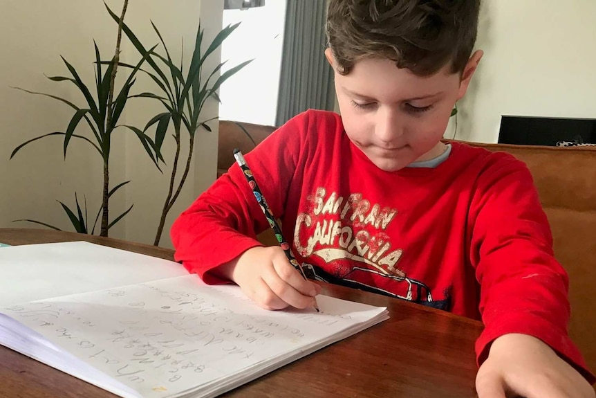 A seven-year-old boy in a red t-shirt working at a desk.