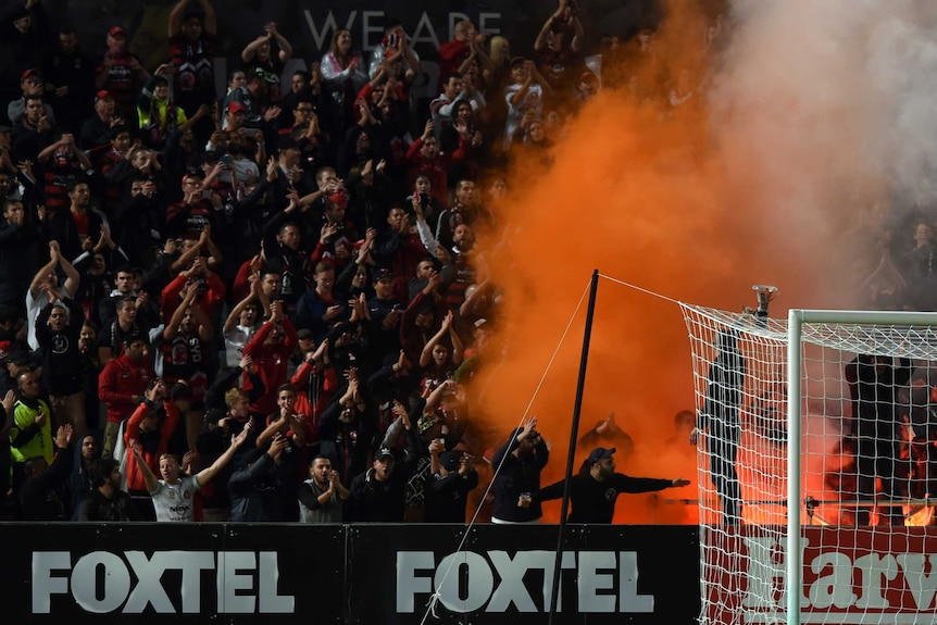 The Western Sydney Wanderers' fans set off a flare