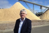 Forico CEO Bryan Hayes in front of a woodchip pile at the re-opened Hampshire mill