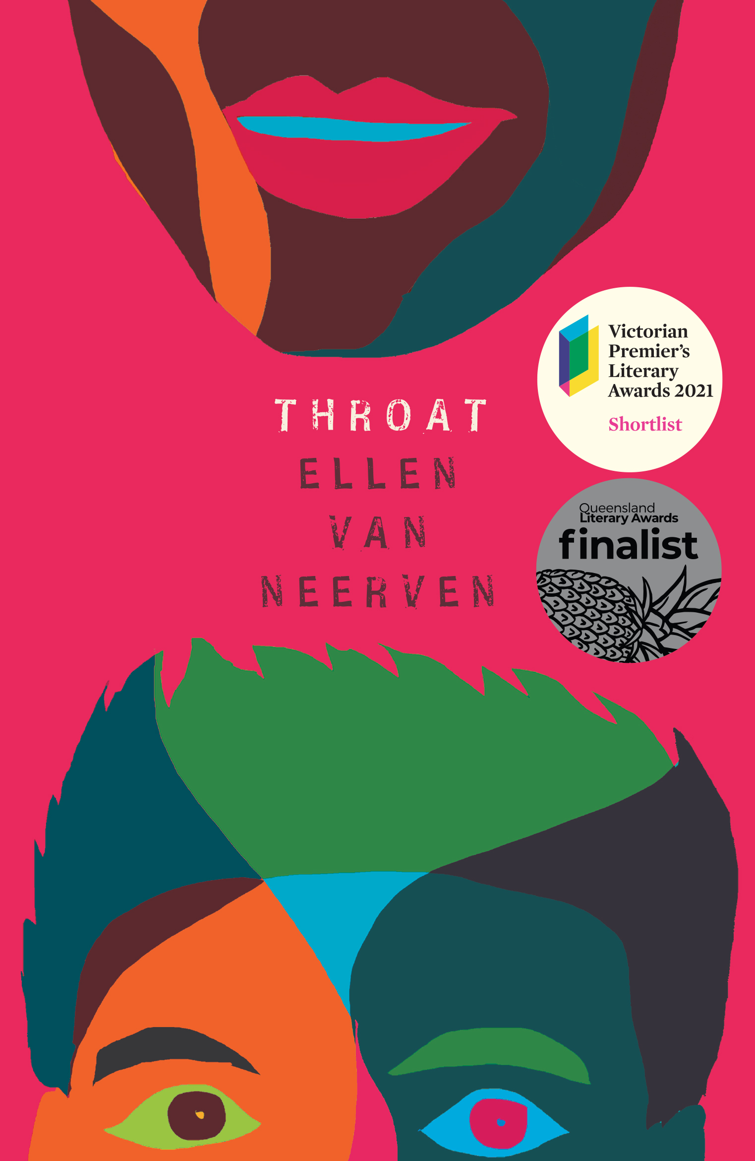 Hot pink background with bright-coloured illustration of face and text: THROAT ELLEN VAN NEERVEN