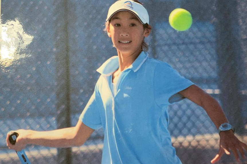 Athlete Priscilla Hon as a child playing tennis.