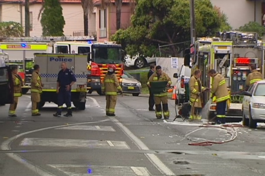 Police and fire fighters at the scene in Botany.