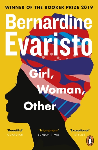 The book cover of Girl, Woman, Other by Bernardine Evaristo, an illustration of a black woman wearing a colourful headscarf