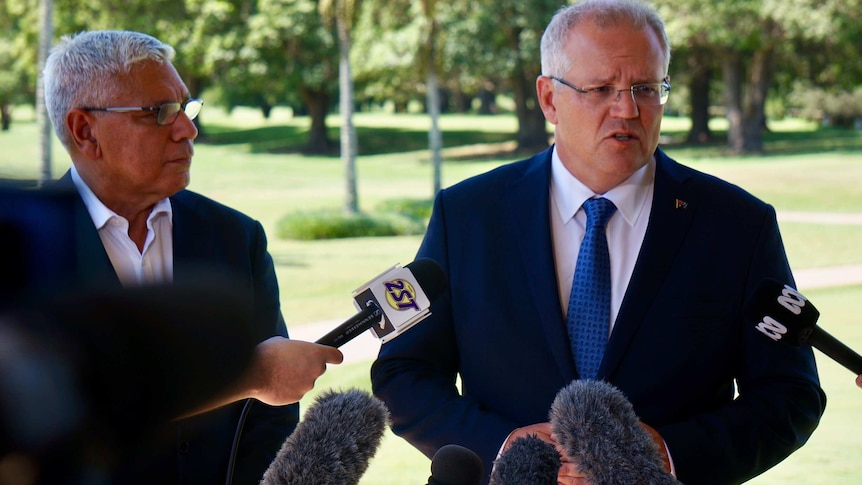 Warren Mundine (left) and Scott Morrison (right) speak at a press conference on the New South Wales South Coast.