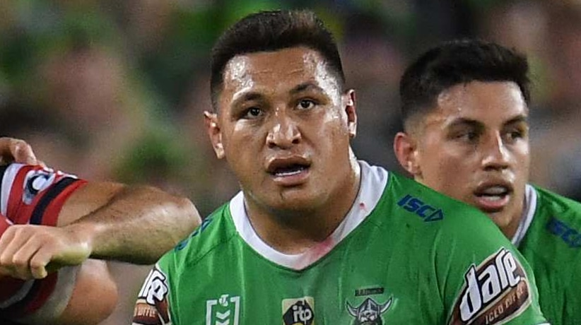 Josh Papalii stands with his hands on his shorts with a stunned look on his face