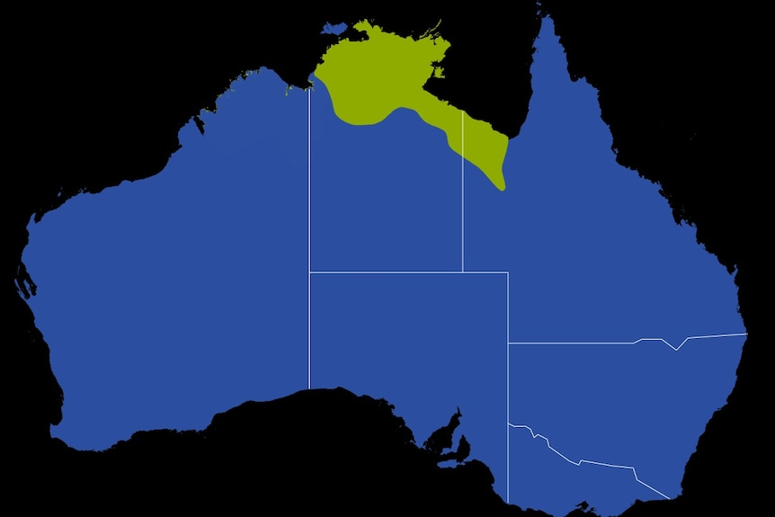 Map of Australia marking out areas of the Top End and north-west Queensland.