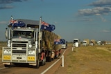 Convoy of trucks arrived at Ilfracombe in central-west Queensland as part of the 11th Burrumbuttock Hay Runners event