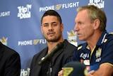 Jarryd Hayne speaks to the media at Gold Coast Titans press conference