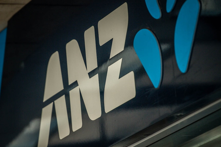 A blue ANZ Bank sign is seen at a bank branch in Martin Place, Sydney.