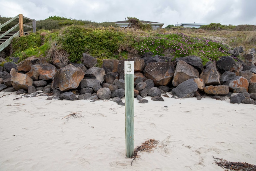 A wooden pole sticks out of the sand on a beach.