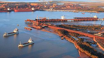 An aerial shot of the Port Hedland port.