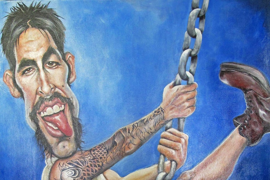 The winning entry by Judy Nadin featuring Mitchell Johnson atop a large cricket 'wrecking' ball.