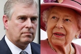 Composite image of Prince Andrew and the Queen