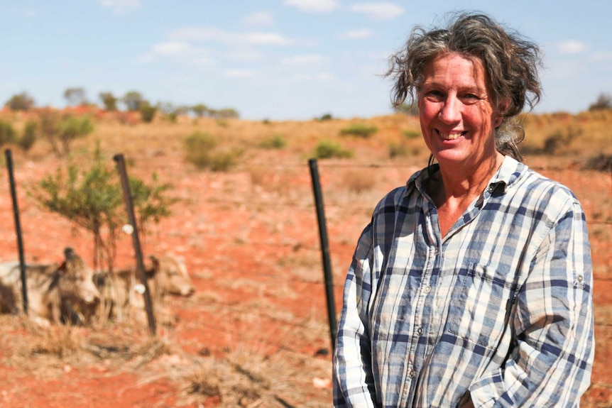 A woman in a checked shirt stands next to a wire fence on red dirt
