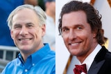 A composite image showing Matthew McConaughey and Greg Abbott.
