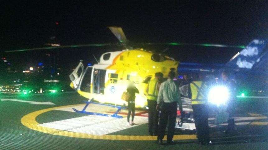 The toddler was flown to a Brisbane hospital in a serious but stable condition.